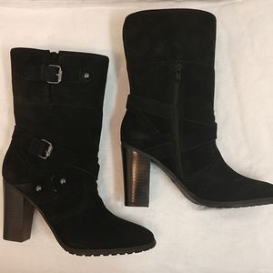 New Black Leather Suede Boots sz 8